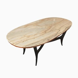 Vintage Italian Wood and White Marble Dining Table, 1950s
