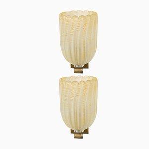 Apliques italianos Mid-Century de cristal de Murano. Juego de 2