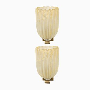 Mid-Century Italian Murano Glass Sconces, Set of 2