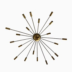 Italian Stilnovo Style Brass Sputnik Ceiling Lamp, 1950s