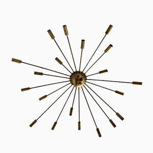 Italienische Messing Sputnik Deckenlampe im Stilnovo Stil, 1950er