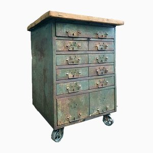Industrial Green Beech Chest of Drawers