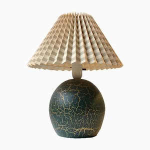 French Jean Besnard Style Green Pottery Table Lamp, 1930s