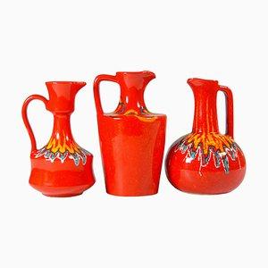 Jarras italianas Mid-Century Modern de cerámica de Bertoncello, años 70. Juego de 3