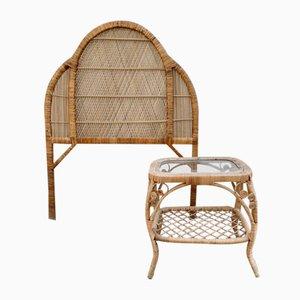 Korbgeflecht Kopfteil & Nachttisch Set von Pons Leyva, 1960er, 2er Set