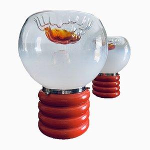 Lampade da tavolo Space Age in vetro di Murano, anni '70, set di 2