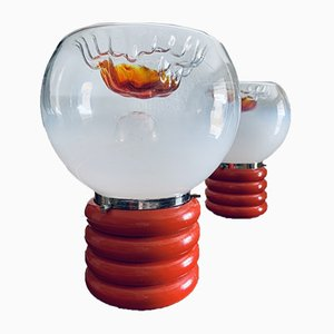 Space Age Murano Glass Table Lamps, 1970s, Set of 2