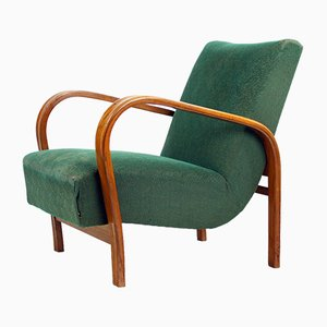 Vintage Green Fabric and Oak Armchair by Kropacek & Kozelka for Interier Praha, 1940s