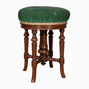 Antique English Walnut Revolving Music Stool from Charles Wadman, 1880s