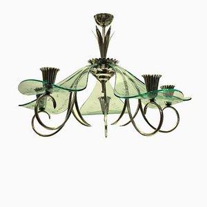Lámpara de araña italiana de vidrio y plateado, años 40