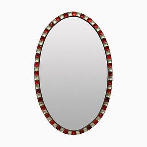 Espejo irlandés vintage de cristal de roca y cristal de rubí