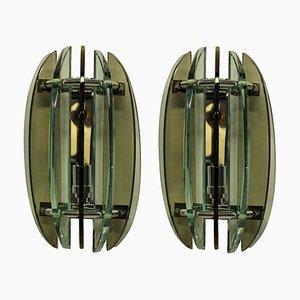 Applique in vetro colorato di Veca, anni '60, set di 2