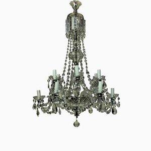 Lámpara de araña inglesa de vidrio, años 50