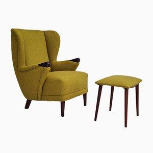 Danish Wool Armchair & Stool, 1960s, Set of 2