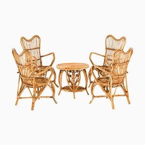 Armlehnstühle und Tisch, 5er Set