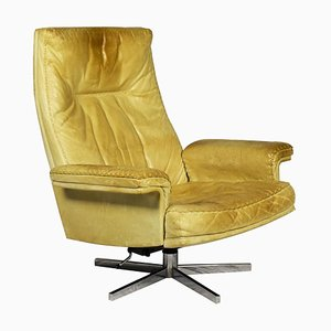 Vintage DS 35 Leather Swivel Armchair from de Sede, Switzerland, 1969