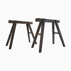 Industrial Trestle Tables, Early 20th Century, Set of 2