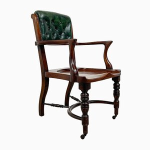 English Antique Mahogany and Buttoned Leather Desk Chair by Cornelius v Smith, 1890s