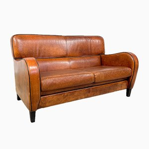 Vintage Sheep Leather Two-Seater Sofa
