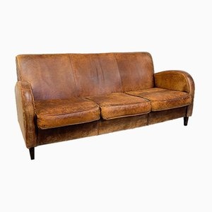 Vintage Wagon Wheel Sheep Leather Three-Seater Sofa
