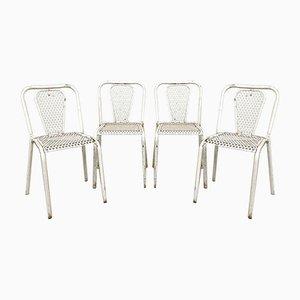 Industrielle Vintage Bistro Stühle aus Metall von Rene Malaval, 4er Set
