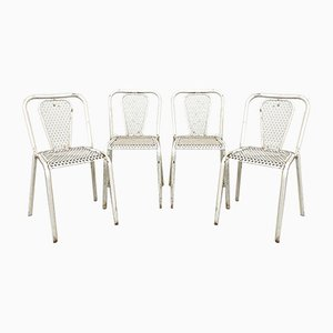 Vintage Industrial Metal Bistro Chairs by Rene Malaval, Set of 4