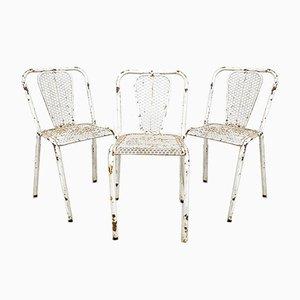 Industrielle Vintage Bistro Stühle aus Metall von Rene Malaval, 3er Set