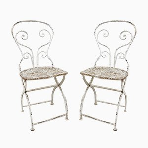 Vintage Folding Metal Bistro Chairs by Mathieu Matego, Set of 2