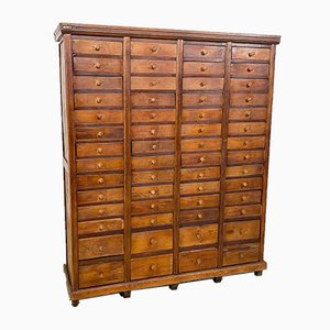 Tall Industrial Wooden Bank of Drawers