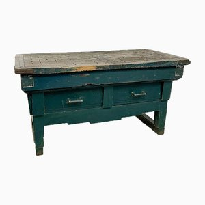 French Antique Painted Art Deco Style Butcher Table