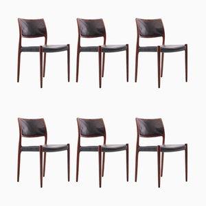 Mid-Century Nr. 80 Skandinavische Modell Rio Palisander Stühle von Niels Møller, 6er Set