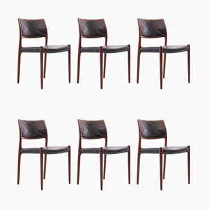 Mid-Century Rio Rosewood Model No°80 Scandinavian Chairs by Niels Møller, Set of 6