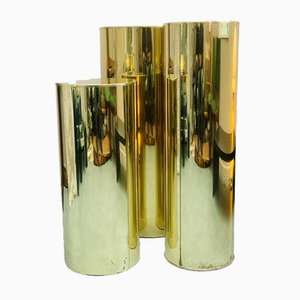Three Brass Cylindrical Pedestals by Curtis Jere for Artisan House, 1986, Set of 3