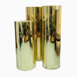 Zylinderförmige Messing Sockel von Curtis Jere für Artisan House, 1986, 3er Set