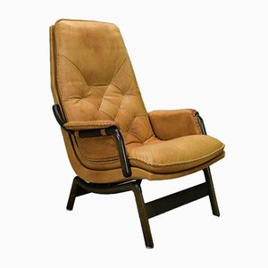 Vintage Danish Tan Leather Lounge Armchair by Berg, 1970s