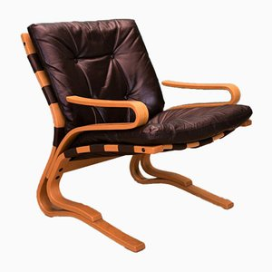 Mid-Century Danish Brown Leather Bentwood Skyline Lounge Armchair by Hove