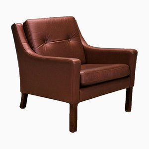 Mid-Century Danish Cognac Brown Leather Mogenesn Style Lounge Armchair