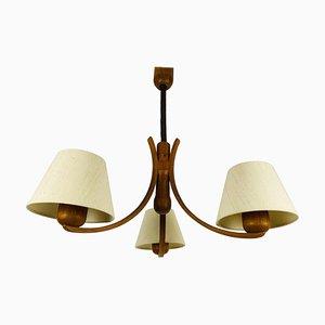 Lámpara colgante Mid-Century de teca con tres brazos de Domus, años 60