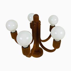 Lámpara colgante de teca con 5 brazos de Domus, años 60