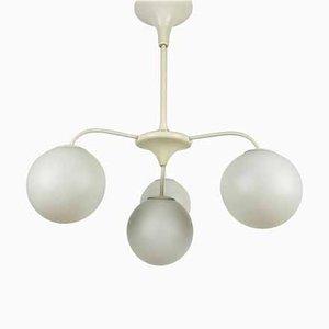 Lámpara de araña era espacial en blanco de 4 brazos de Max Bill para Temde, años 60