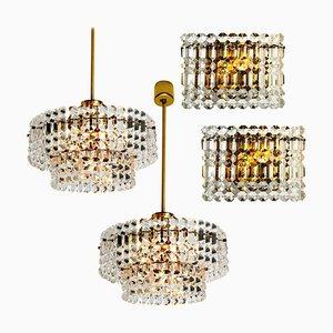 Vergoldete Kinkeldey Kristallglas Leuchten von Interna, 1960er, Set of 4