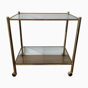 Brass Golden Tea Cart Serving Trolley with Glass Plates.