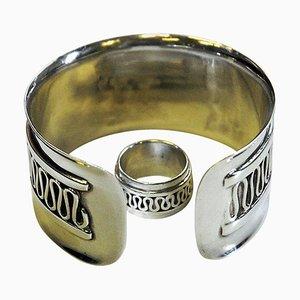 Schwedisches Dekor Silber Armband und Ring von Willy Käfling, 1971