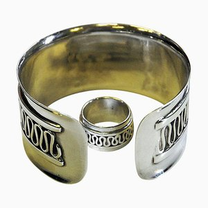 Swedish Decor Silver Bracelet and Ring Set by Willy Käfling, 1971