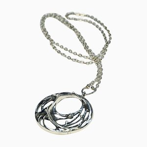 Long Spiderweb Silver Necklace by Karl Laine, Finland, 1970s