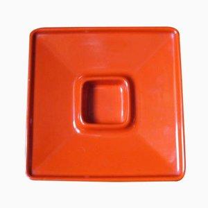 Portacenere in ceramica arancione di Angelo Mangiarotti per F.lli Brambilla, 1968