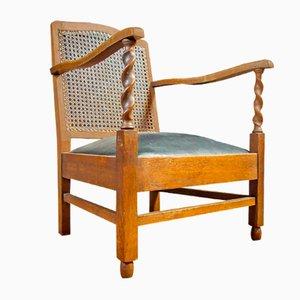 Sedia antica in legno e pelle di Vroom & Dreesmann, anni '20