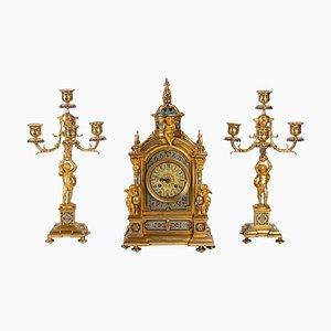 Bronze und Cloisonné Emaille Kaminsims Set im Napoleon III Stil, 3er Set