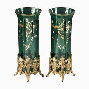 Green Glass Vases, Set of 2