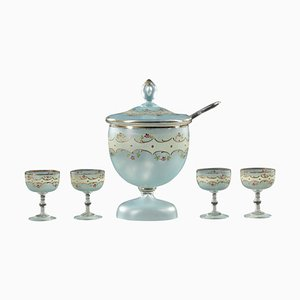 Punch Bowl and Glasses, 1950s, Set of 6